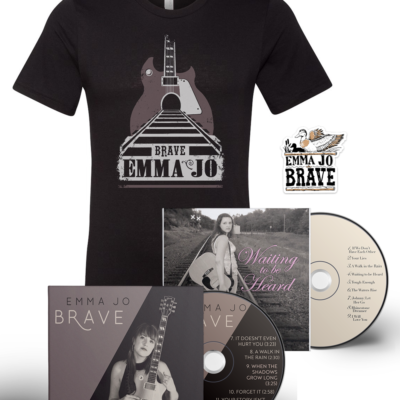 Bundle of Emma Jo merchandise featuring a t-shirt, 2 CDs, and a sticker